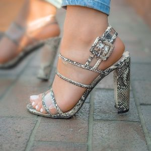 Shoes - Hissy Fit - Beige Snake Clear Band Heels